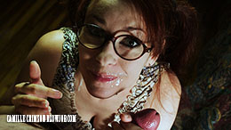 Camille Crimson in Glasses and Pigtails Naughty Geek Blowjob